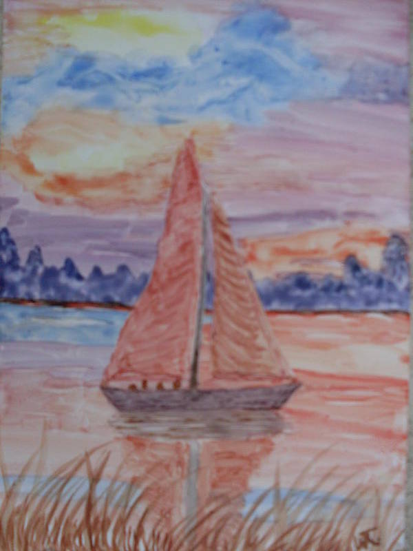 Seashore Sailboat Sunset Watercolor Art Print featuring the painting Peaceful Sailing by Warren Thompson