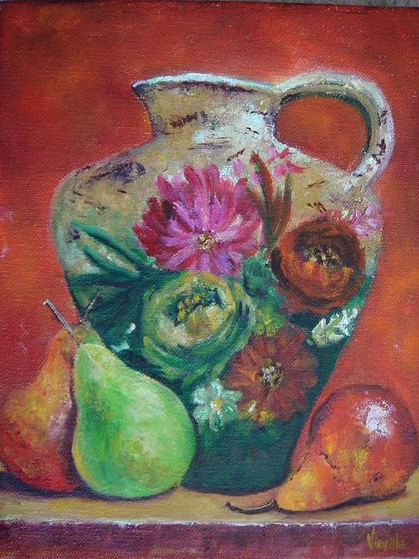 Still Life Art Print featuring the painting Pear Paintings - French Jug With Pears by Virgilla Lammons