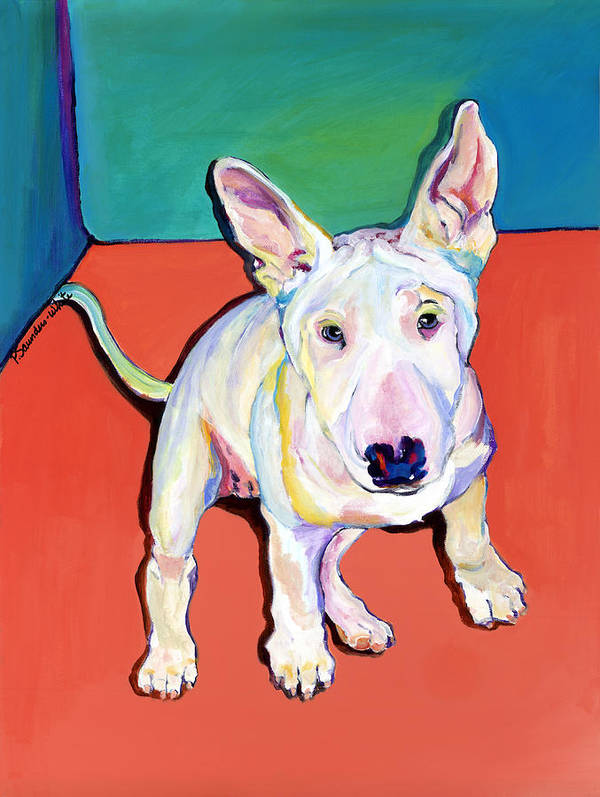 Pet Portrait Commissions Art Print featuring the painting Pearl by Pat Saunders-White