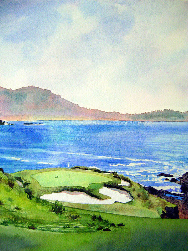 Transparent Watercolor Landscape Pebble Beach Golf Course 7th Hole. Us Open Ocean Marine Seascape At&t Pebble Beach Pro-am Art Print featuring the painting Pebble Beach Gc 7th Hole by Scott Mulholland