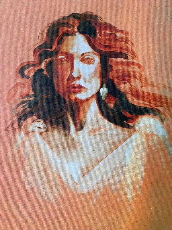 Portrait Art Print featuring the painting Pensive by Brenda Ellis Sauro