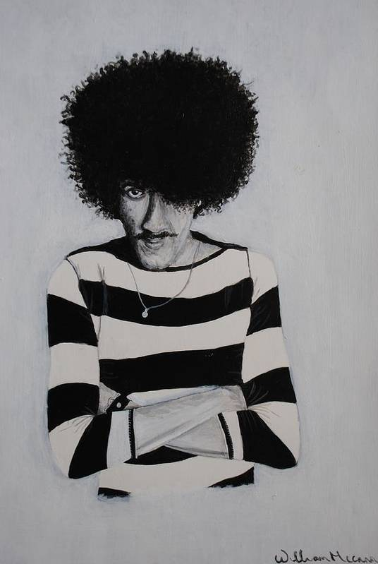 Hpil Lynott Portrait Black And White Acrylic Paintig Musician Art Print featuring the painting Phil Lynott Portrait by William McCann