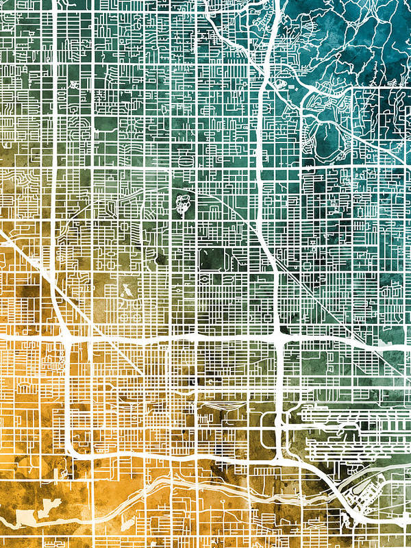 Phoenix Arizona City Map Art Print