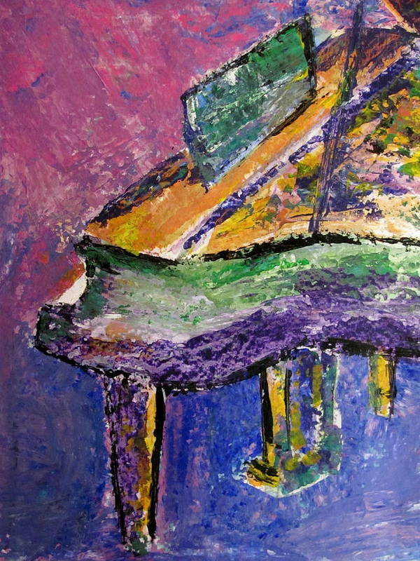 Piano Art Print featuring the painting Piano Purple - Cropped by Anita Burgermeister