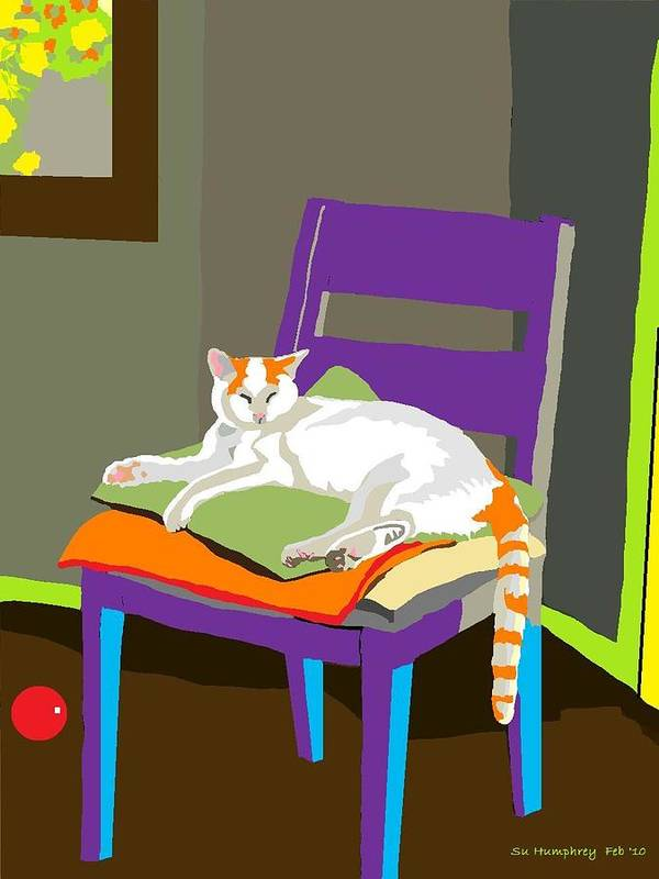 White And Orange Cat Art Print featuring the digital art Pillow Stack by Su Humphrey