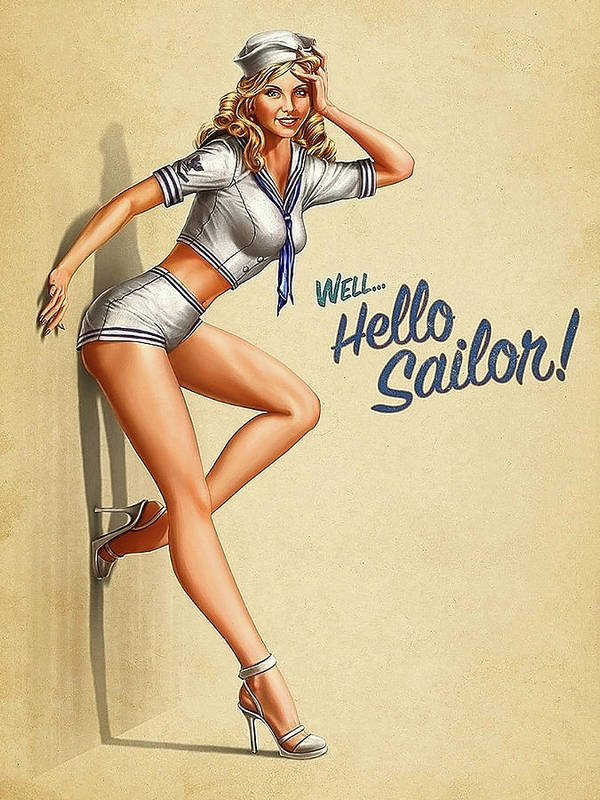 Vintage (Pre-1970) 1940s Pin-Up Girl Sailor Girl #3 Pin Up Picture Poster  Print Vintage Art Pin Up Paper