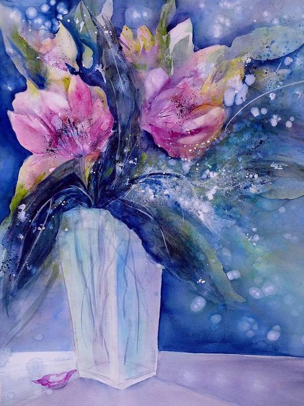 Pink Lilies Art Print featuring the painting Pink Lilies In Vase by Sabina Von Arx