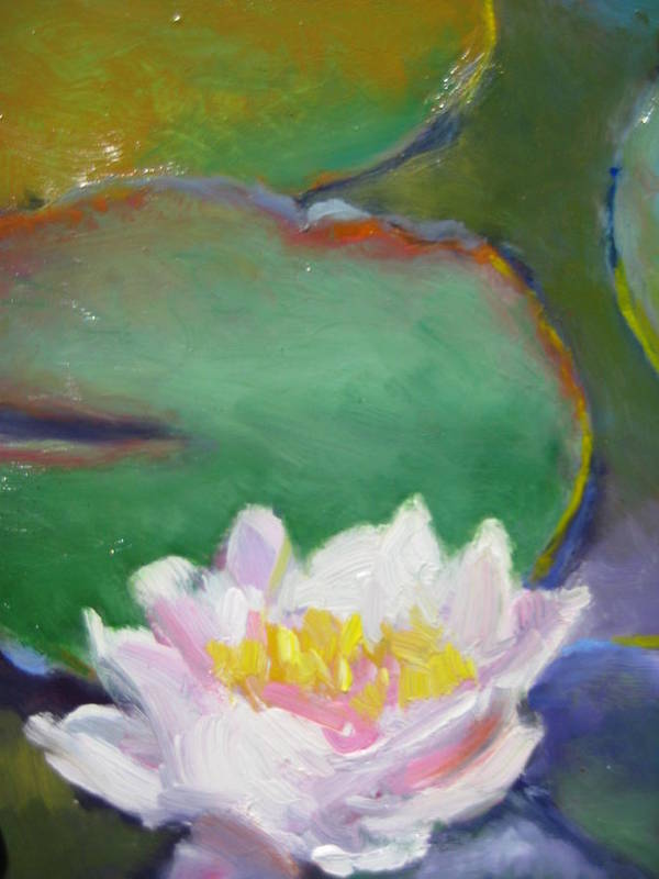 Landscape Art Print featuring the painting Pink Lotus by Susan Jenkins