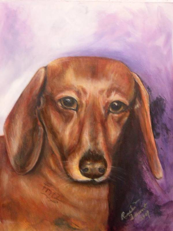 Pet Portrait Art Print featuring the painting Portrait Of Fritz - Commissions Accepted by Renee Dumont Museum Quality Oil Paintings Dumont