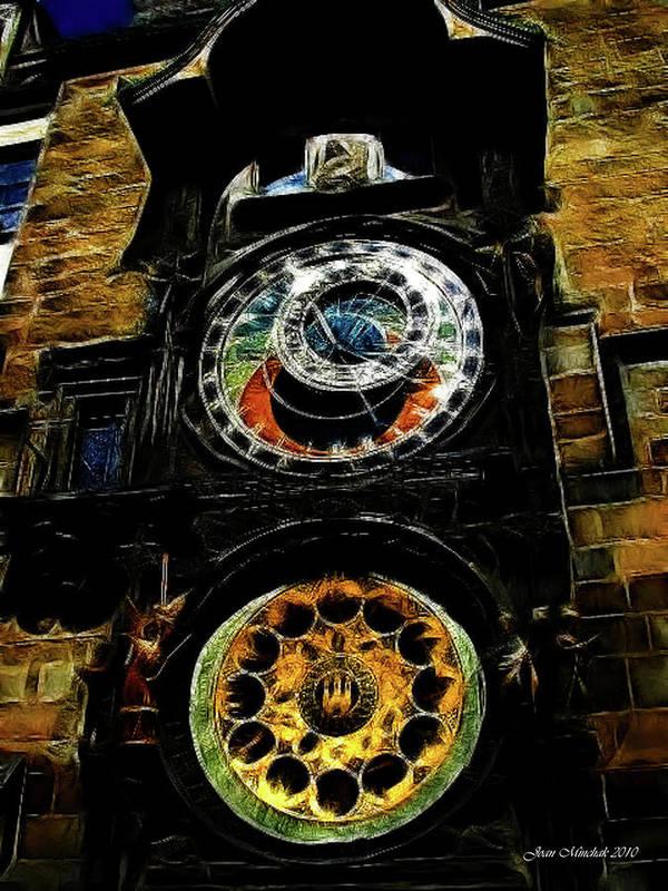 Prague Art Print featuring the digital art Prague Clock by Joan Minchak