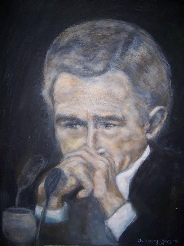 President George Bush Art Print featuring the painting President George Bush by Suzanne Reynolds