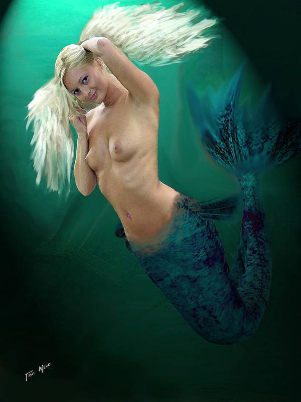 Mermaid Art Print featuring the painting Pretty Blonde by Tray Mead