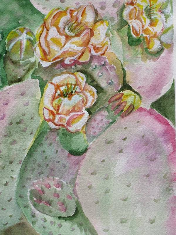 Cactus Flower Art Print featuring the painting Prickly Pear by Kathy Mitchell