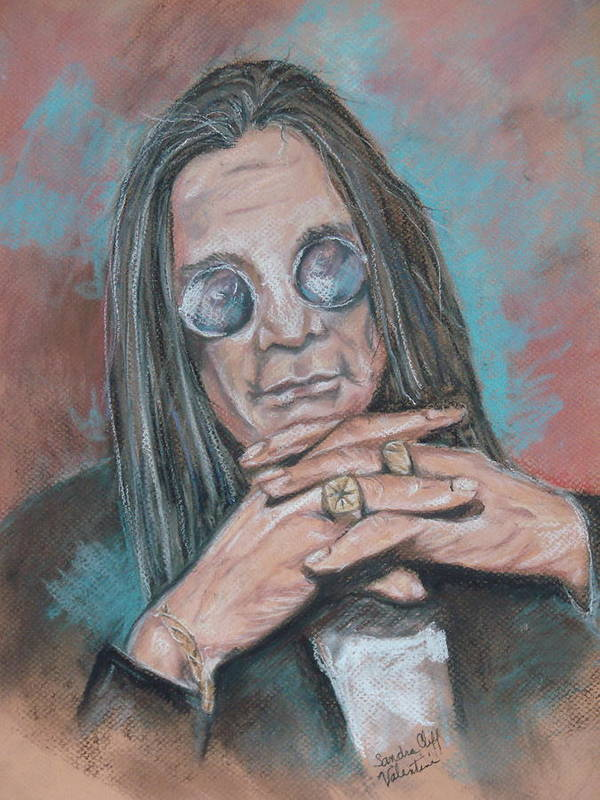 Ozzy Art Print featuring the pastel Prince Of Darkness by Sandra Valentini
