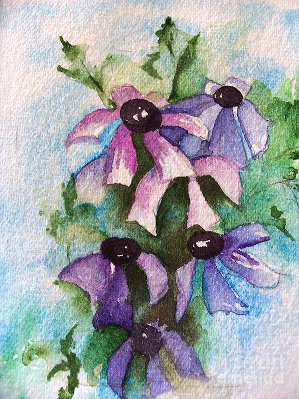 Art Print featuring the painting Purple Flowers by Sandi Stonebraker