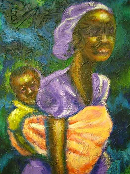 Mother And Child Art Print featuring the painting Safe And Secure by Jan Gilmore