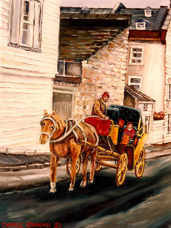 Quebec City Carriage Ride Art Print featuring the painting Quebec City Carriage Ride by Carole Spandau