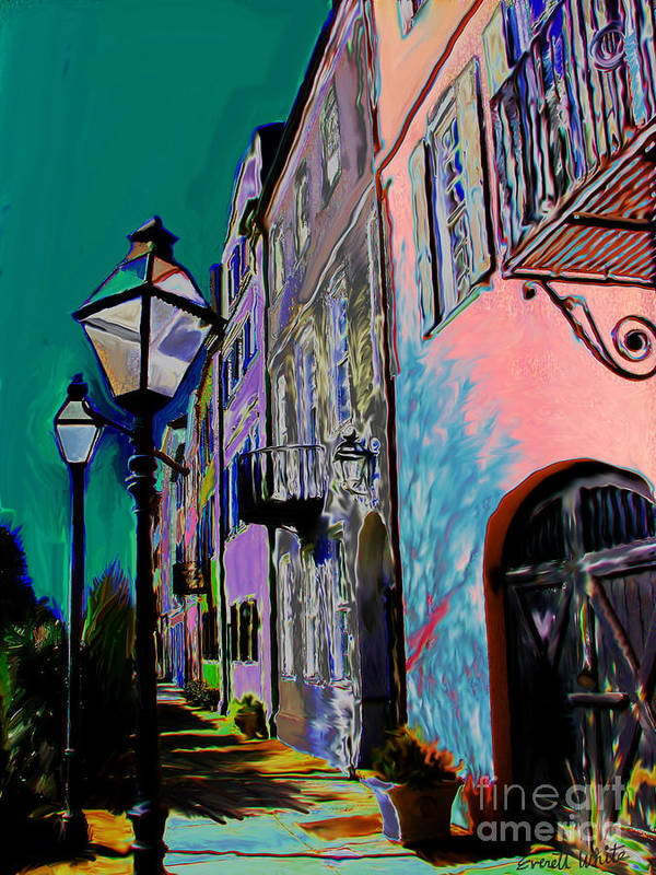 Charleston Art Print featuring the painting Rainbow Row by Everett White