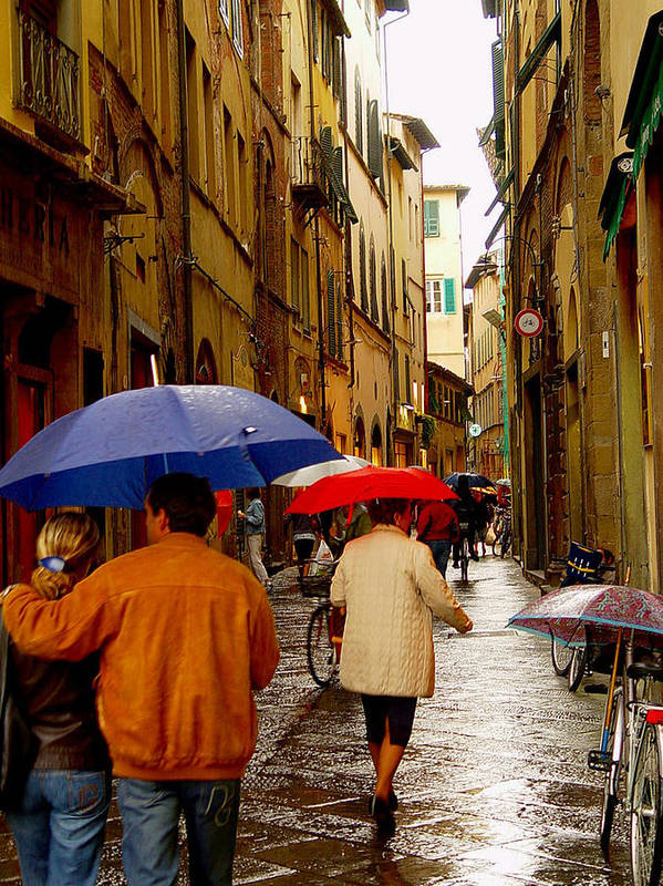 Italy Art Print featuring the photograph Rainy Day Shopping In Italy by Nancy Bradley
