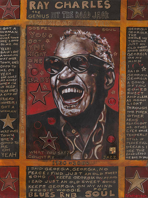Ray Charles Art Print featuring the painting Ray by Ray Stephenson