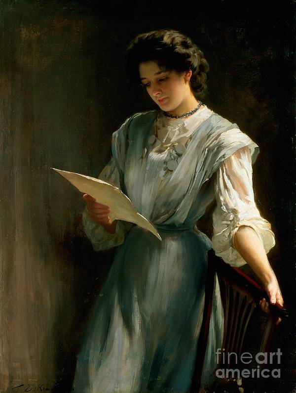 Woman; Love; Portrait; Edwardian Print featuring the painting Reading The Letter by Thomas Benjamin Kennington