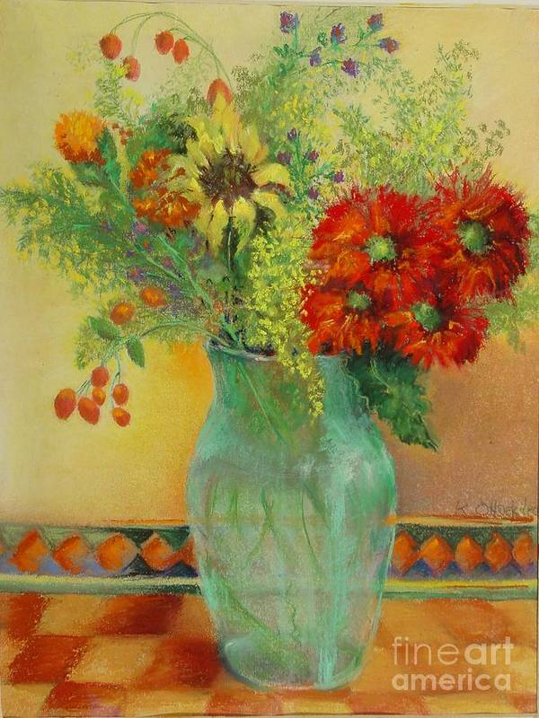 Floral Art Print featuring the painting Red Daisies In Green Glass                 Copyrighted by Kathleen Hoekstra