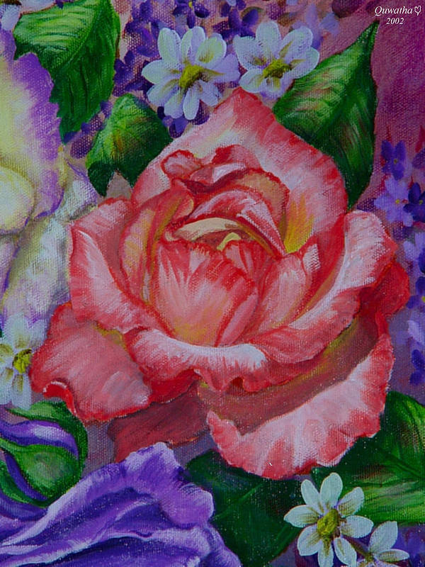 Rose Art Print featuring the painting Red Rose by Quwatha Valentine