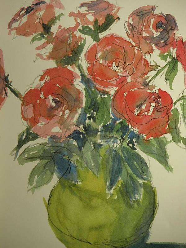Walt Maes Art Print featuring the painting Red Roses In A Green Vase by Walt Maes