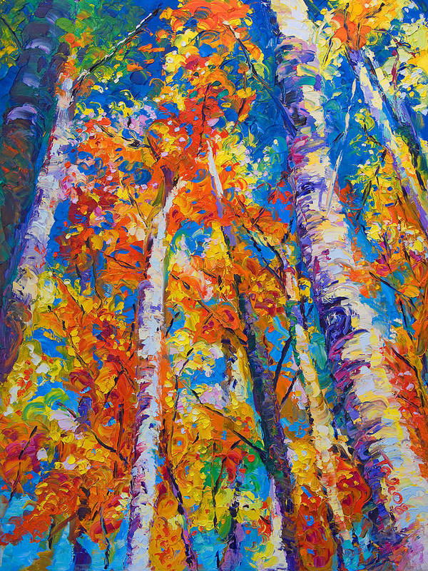 Impresssionist Print featuring the painting Redemption - Fall Birch And Aspen by Talya Johnson
