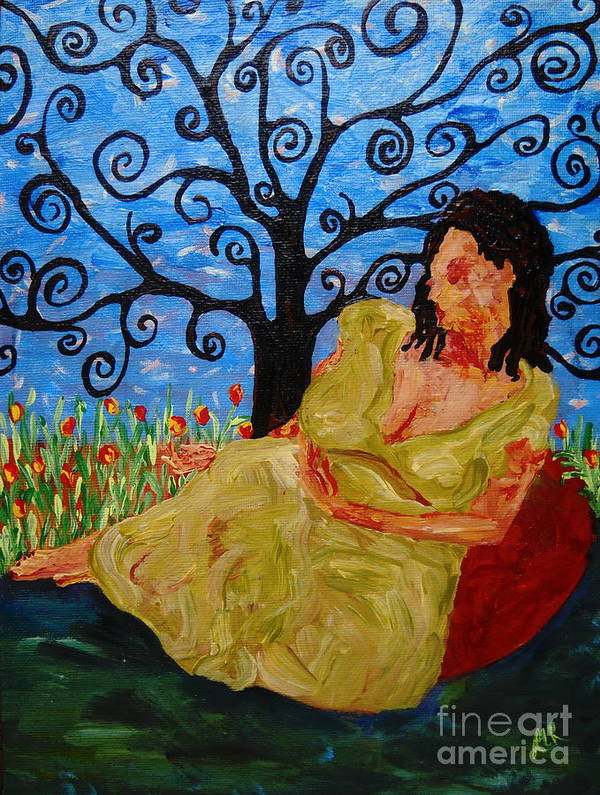 Woman Botanical Garden Portrait Tree Flowers Blue Green Peace Relax Art Print featuring the painting Relax by Reina Resto