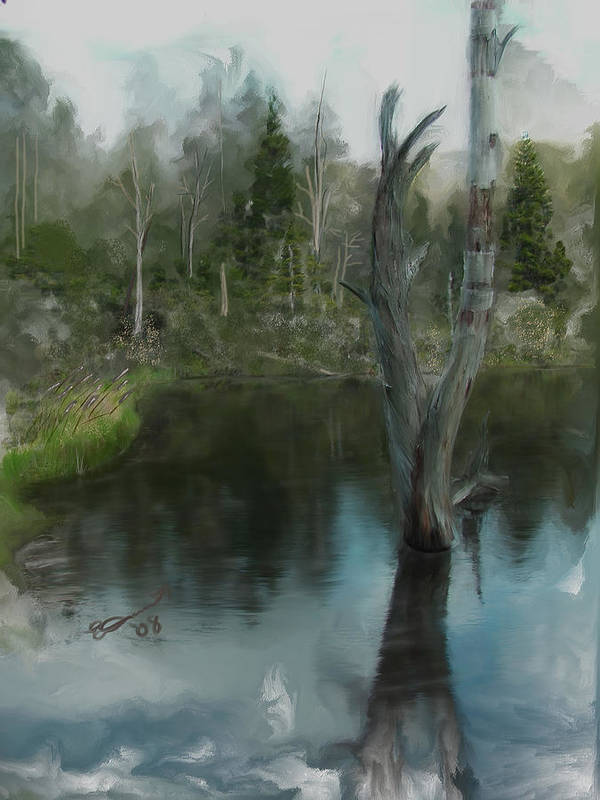 Lake Water White Life Summer Painting Zealand Tree Mountain Pond Death Deadwood Art Print featuring the painting Renewal... by Eddie Durrett