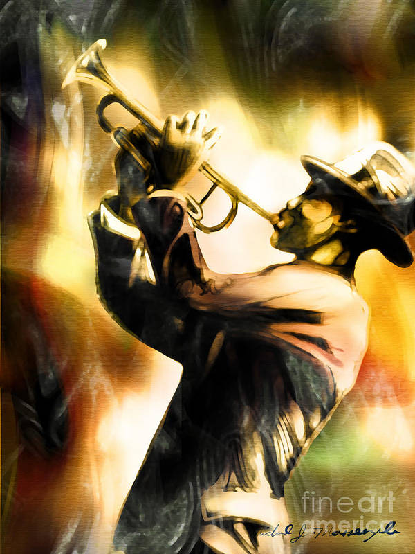 Jazz Art Art Print featuring the painting Riff by Mike Massengale