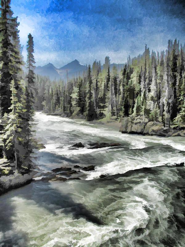River Art Print featuring the digital art Roaring River by Rich Stedman