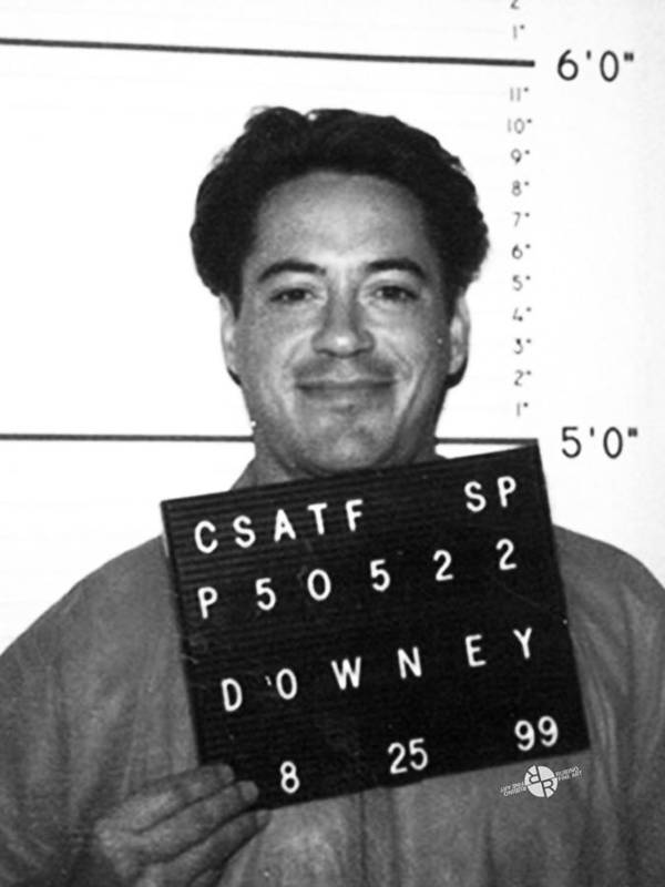 Robert Downey Jr Mug Shot 1999 Black And White Art Print