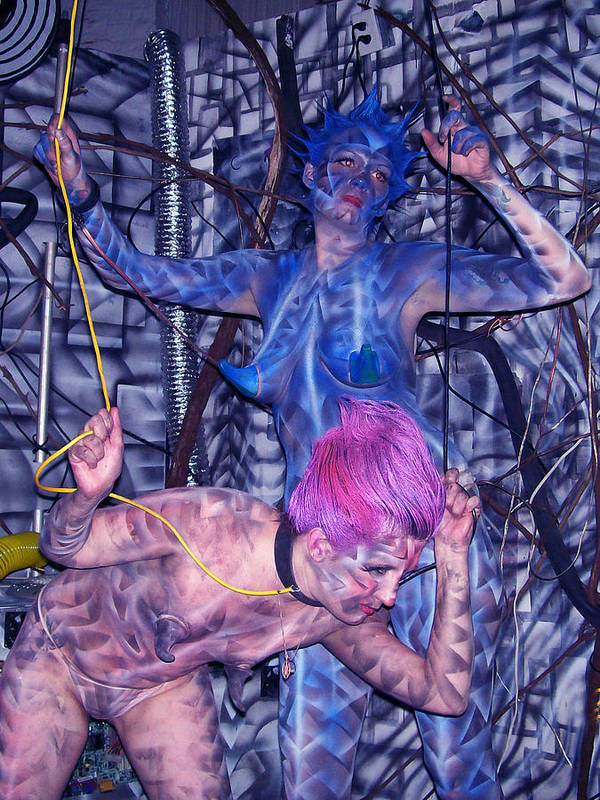 Body Paint Art Print featuring the painting Robotic Blues by Leigh Odom