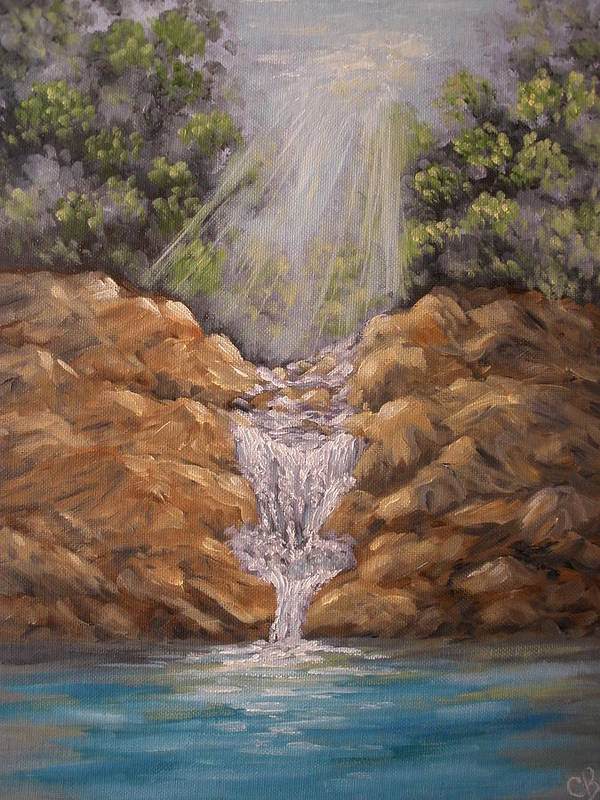 Waterfall Art Print featuring the painting Rockledge Falls by Carrie Mayotte