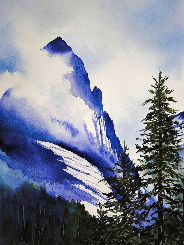 Rocky Mountains Art Print featuring the painting Rocky Mountain High by Karen Stark