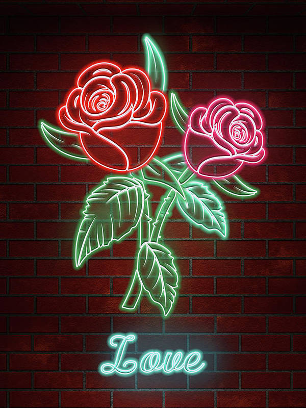 Romantic Roses In Neon Lights Text Love Art Print By Elaine Plesser