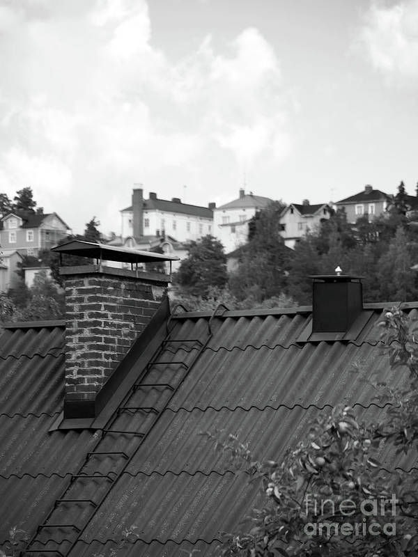 Black And White Art Print featuring the photograph Roof by Tapio Koivula