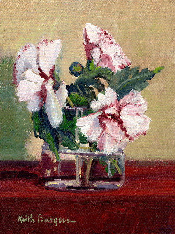 Impressionism Art Print featuring the painting Rose Of Sharon by Keith Burgess