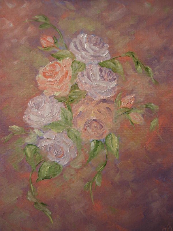 Roses Art Print featuring the painting Roses All Aglow by Carrie Mayotte