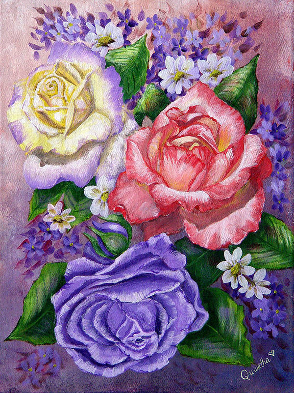 Rose Art Print featuring the painting Roses by Quwatha Valentine