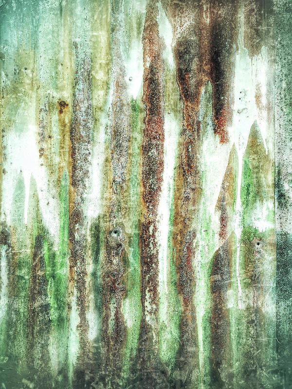 Abstract Art Print featuring the photograph Rusty Metal Background by Tom Gowanlock