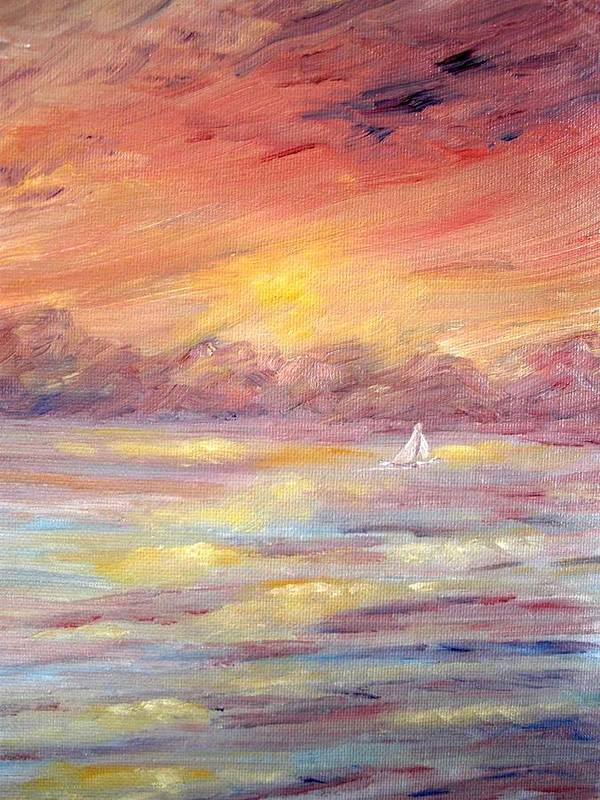 Seascape Art Print featuring the painting Sailing Into The Sun by Carrie Mayotte