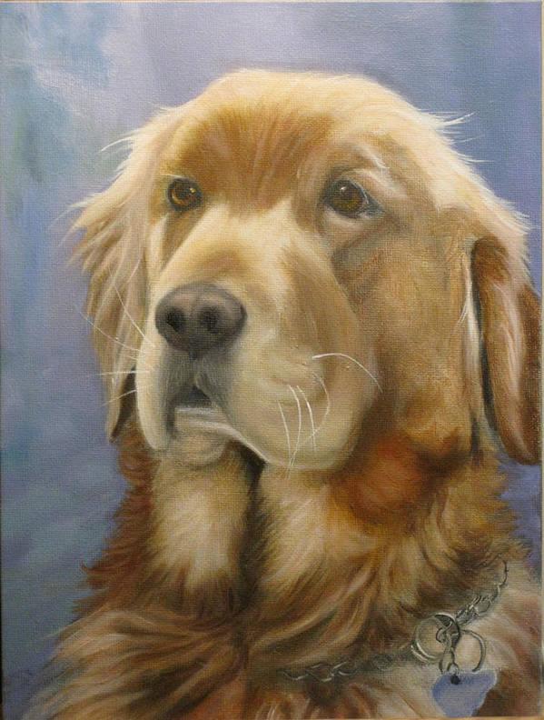 Golden Retriever Art Print featuring the painting Sam by Birgit Coath - AFCA