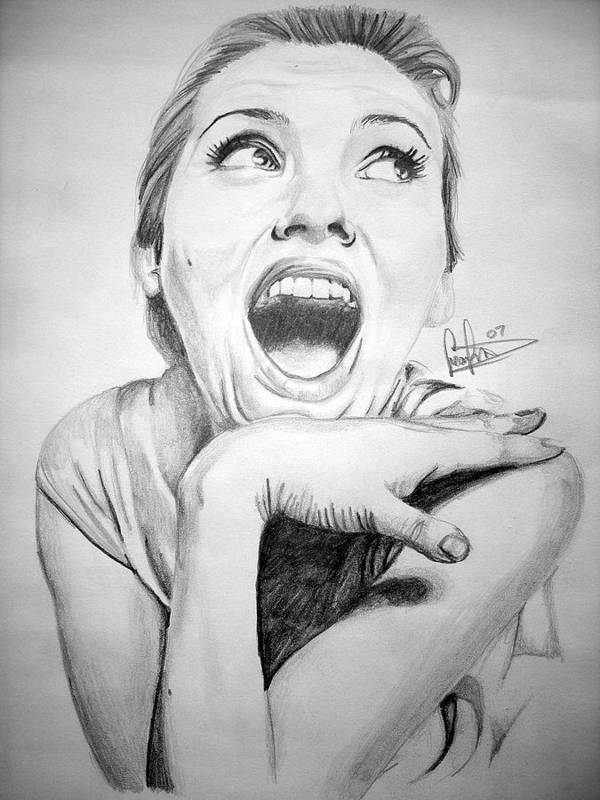 Celeb Portraits Art Print featuring the drawing Scarlett Johansson by Sean Leonard