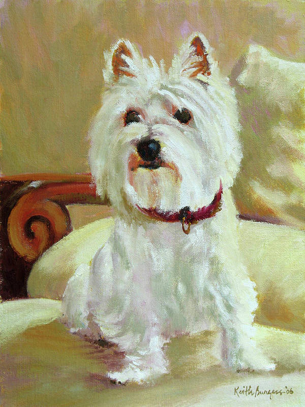 Pet Art Print featuring the painting Schatzie by Keith Burgess