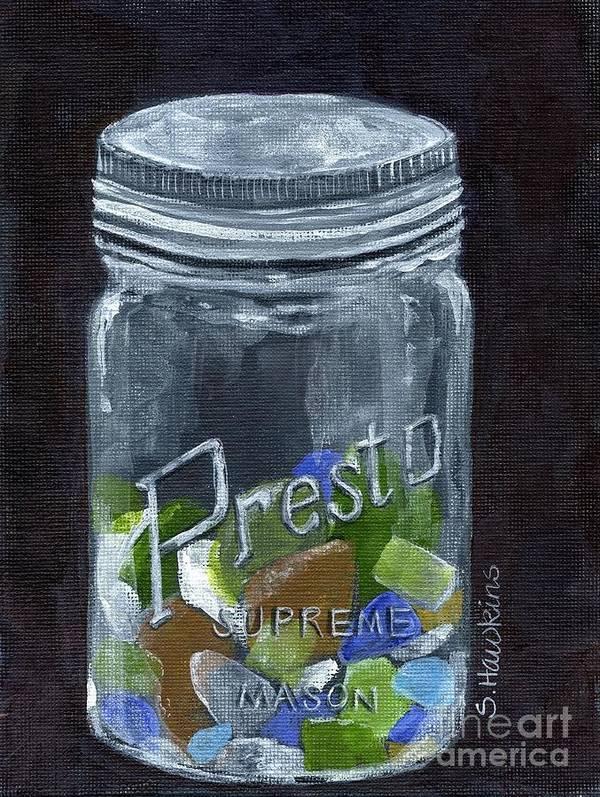 Original Painting Art Print featuring the painting Sea Glass Jar by Sheryl Heatherly Hawkins