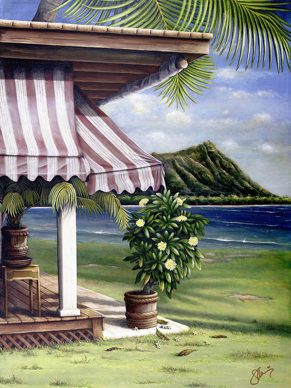 Acrylic Art Print featuring the painting Seaside Hotel by Sandra Blazel - Printscapes
