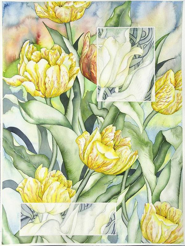 Flowers Art Print featuring the painting Secret World II by Liduine Bekman